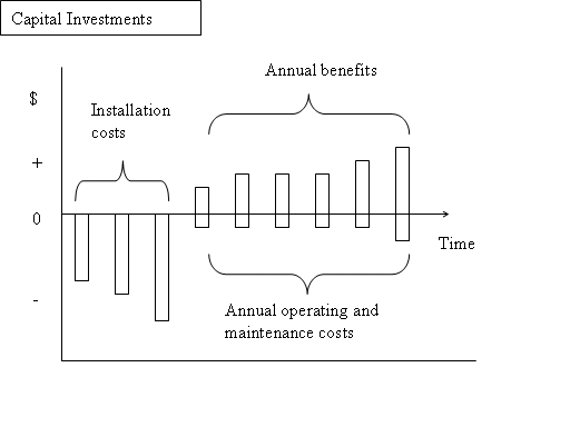 This image displays the cost and revenue streams associated with capital budgets, or capital investments.